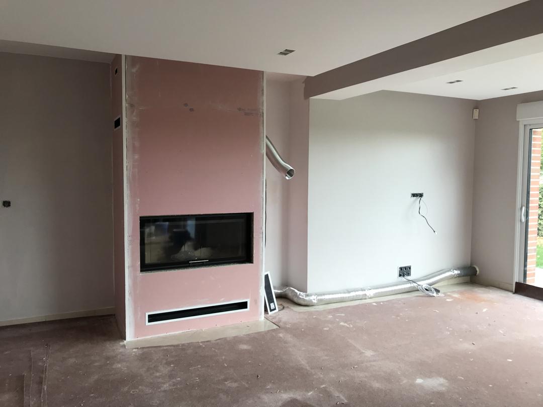 Installation d'un foyer bois LORFLAM VS120 - Mont St Eloi Image 1
